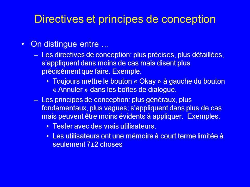Directives et principes de conception On distingue entre … –Les directives de conception: plus précises, plus détaillées, sappliquent dans moins de ca