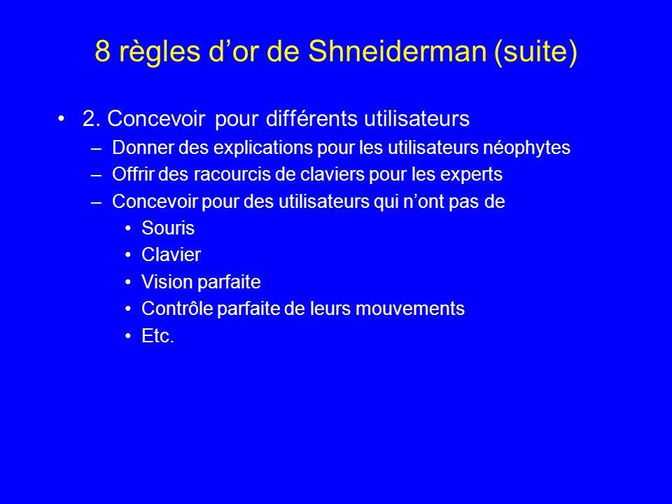 8 règles dor de Shneiderman (suite) 2. Concevoir pour différents utilisateurs –Donner des explications pour les utilisateurs néophytes –Offrir des rac