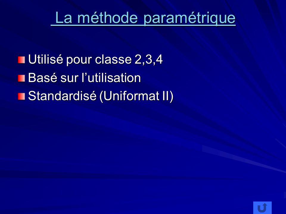 La méthode paramétrique La méthode paramétrique Utilisé pour classe 2,3,4 Basé sur lutilisation Standardisé (Uniformat II)