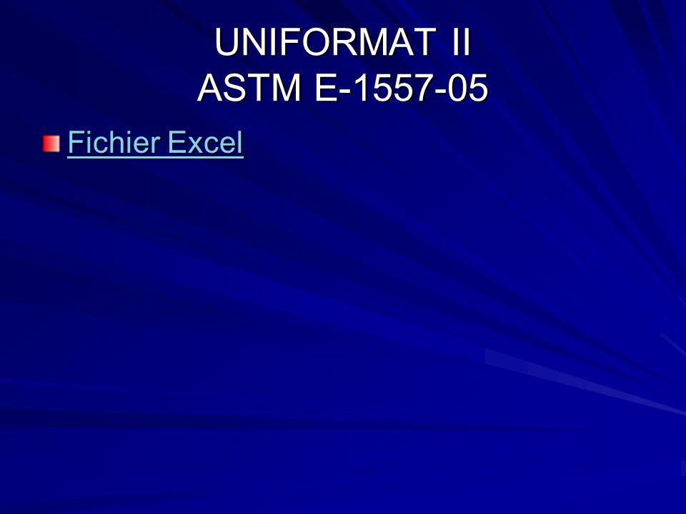UNIFORMAT II ASTM E-1557-05 Fichier Excel Fichier Excel