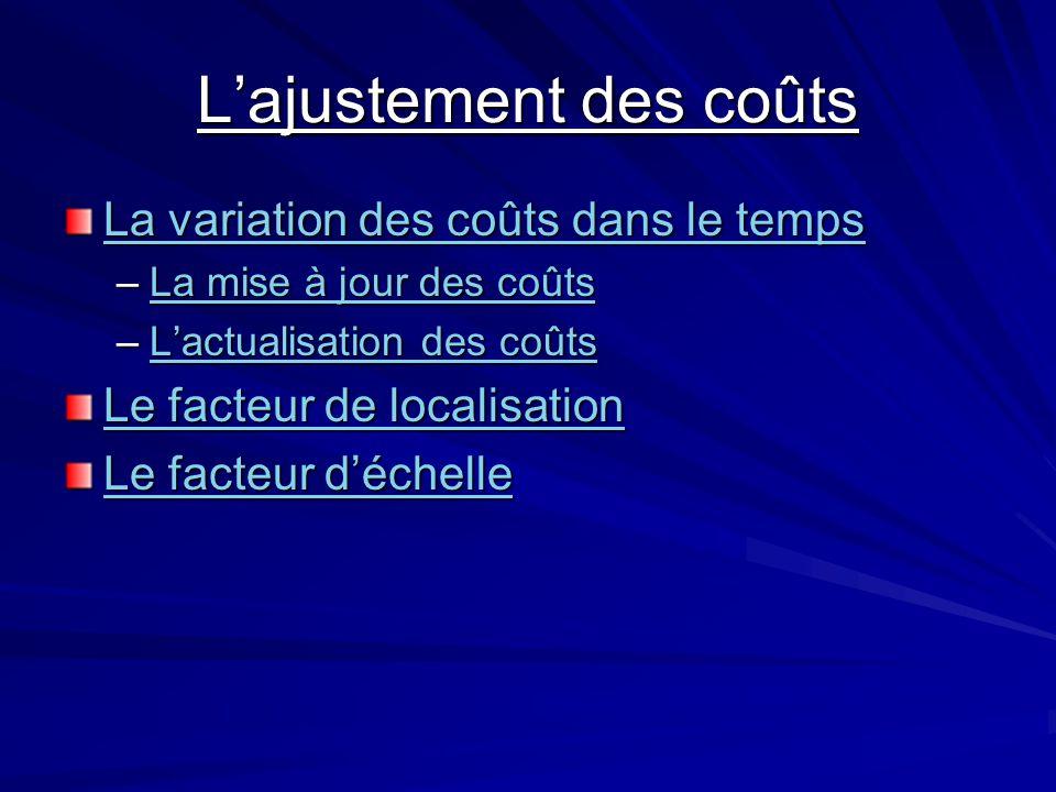 Lajustement des coûts La variation des coûts dans le temps La variation des coûts dans le temps –La mise à jour des coûts La mise à jour des coûtsLa m