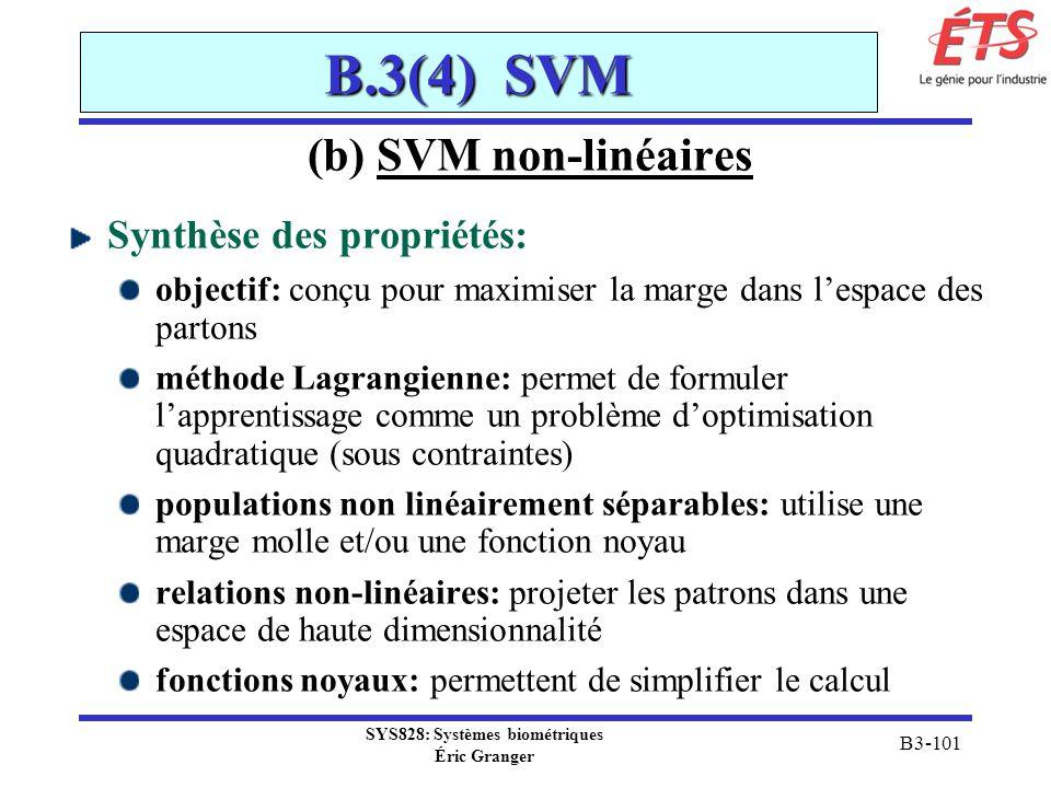 SYS828: Systèmes biométriques Éric Granger B3-101 B.3(4) SVM (b) SVM non-linéaires Synthèse des propriétés: objectif: conçu pour maximiser la marge da