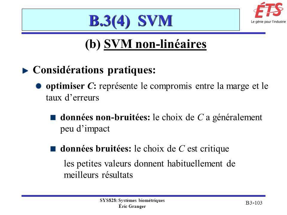SYS828: Systèmes biométriques Éric Granger B3-103 B.3(4) SVM (b) SVM non-linéaires Considérations pratiques: optimiser C: représente le compromis entr