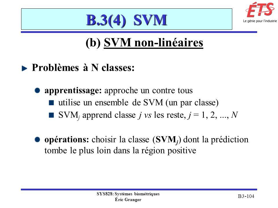 SYS828: Systèmes biométriques Éric Granger B3-104 B.3(4) SVM (b) SVM non-linéaires Problèmes à N classes: apprentissage: approche un contre tous utili