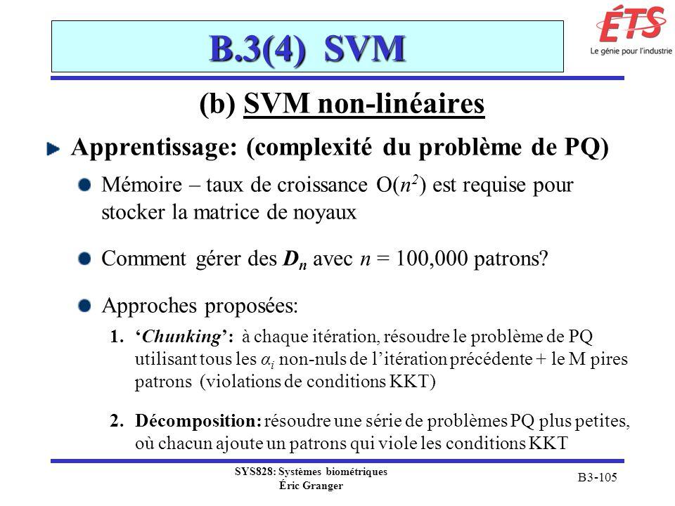 SYS828: Systèmes biométriques Éric Granger B3-105 B.3(4) SVM (b) SVM non-linéaires Apprentissage: (complexité du problème de PQ) Mémoire – taux de cro