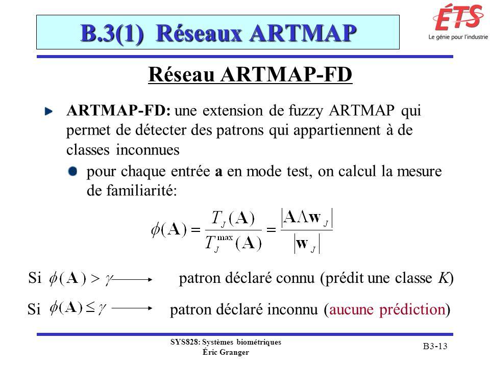 SYS828: Systèmes biométriques Éric Granger B3-13 B.3(1) Réseaux ARTMAP Réseau ARTMAP-FD ARTMAP-FD: une extension de fuzzy ARTMAP qui permet de détecte