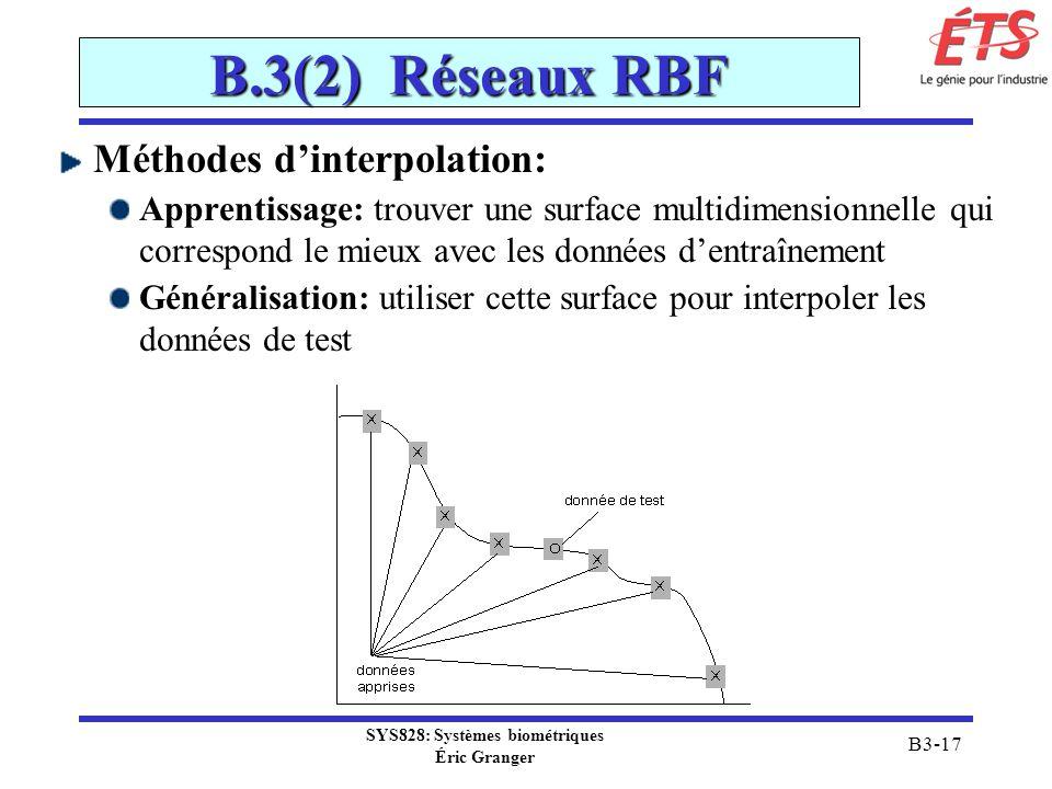 SYS828: Systèmes biométriques Éric Granger B3-17 B.3(2) Réseaux RBF Méthodes dinterpolation: Apprentissage: trouver une surface multidimensionnelle qu