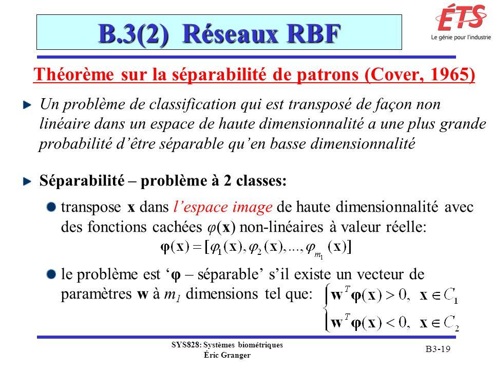 SYS828: Systèmes biométriques Éric Granger B3-19 B.3(2) Réseaux RBF Théorème sur la séparabilité de patrons (Cover, 1965) Un problème de classificatio