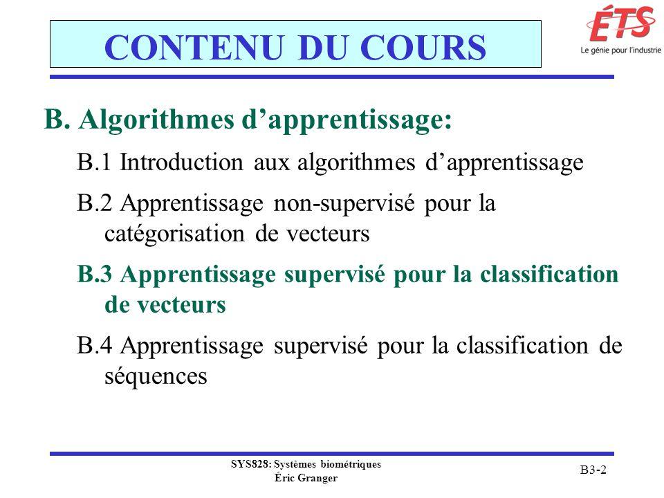 SYS828: Systèmes biométriques Éric Granger B3-2 CONTENU DU COURS B. Algorithmes dapprentissage: B.1 Introduction aux algorithmes dapprentissage B.2 Ap