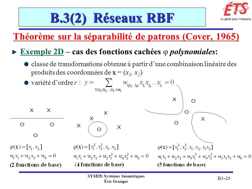 SYS828: Systèmes biométriques Éric Granger B3-20 B.3(2) Réseaux RBF Théorème sur la séparabilité de patrons (Cover, 1965) Exemple 2D – cas des fonctio