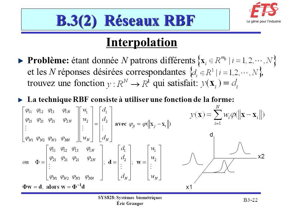 SYS828: Systèmes biométriques Éric Granger B3-22 B.3(2) Réseaux RBF Interpolation Problème: étant donnée N patrons différents et les N réponses désiré