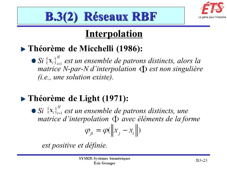 SYS828: Systèmes biométriques Éric Granger B3-23 B.3(2) Réseaux RBF Interpolation Théorème de Micchelli (1986): Si est un ensemble de patrons distinct