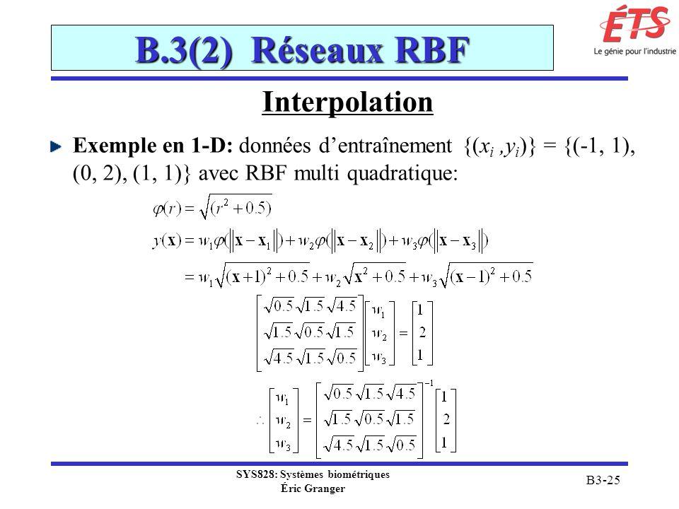 SYS828: Systèmes biométriques Éric Granger B3-25 B.3(2) Réseaux RBF Interpolation Exemple en 1-D: données dentraînement {(x i,y i )} = {(-1, 1), (0, 2