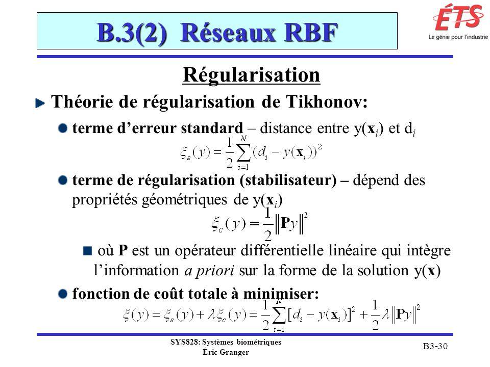 SYS828: Systèmes biométriques Éric Granger B3-30 B.3(2) Réseaux RBF Régularisation Théorie de régularisation de Tikhonov: terme derreur standard – dis