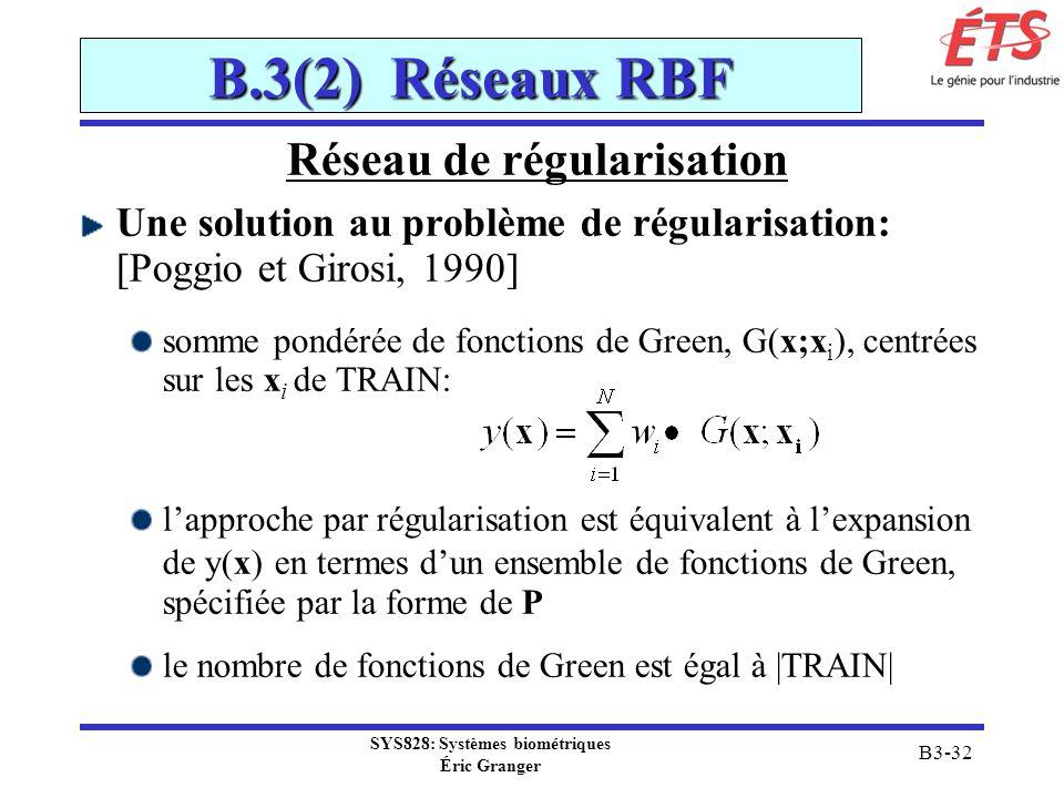 SYS828: Systèmes biométriques Éric Granger B3-32 B.3(2) Réseaux RBF Réseau de régularisation Une solution au problème de régularisation: [Poggio et Gi