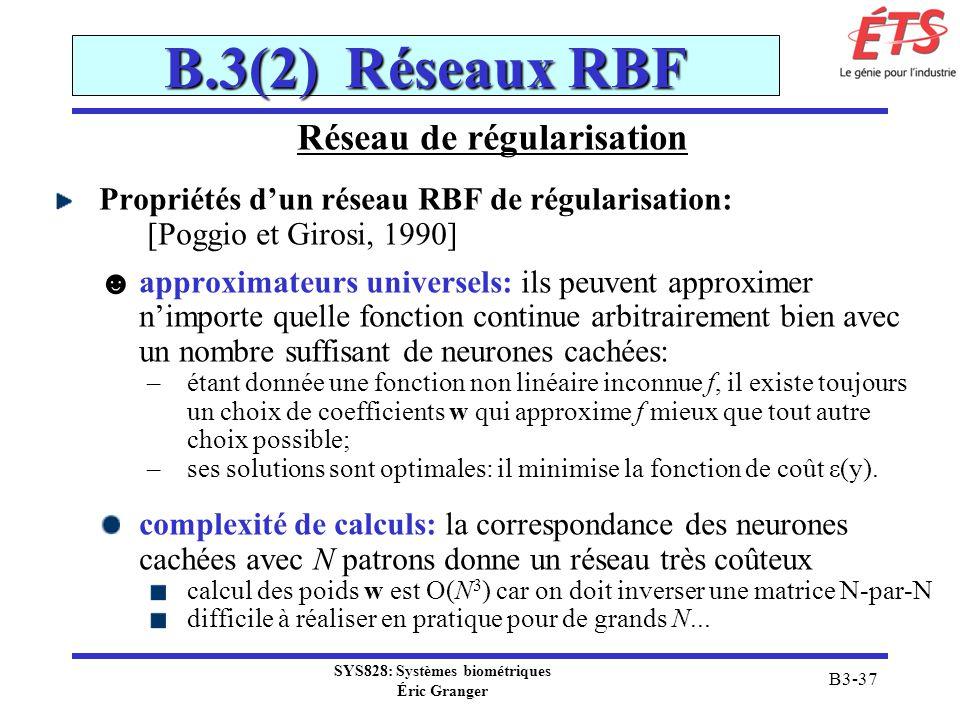 SYS828: Systèmes biométriques Éric Granger B3-37 B.3(2) Réseaux RBF Réseau de régularisation Propriétés dun réseau RBF de régularisation: [Poggio et G