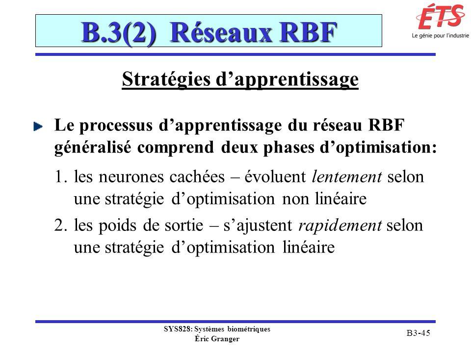 SYS828: Systèmes biométriques Éric Granger B3-45 B.3(2) Réseaux RBF Stratégies dapprentissage Le processus dapprentissage du réseau RBF généralisé com