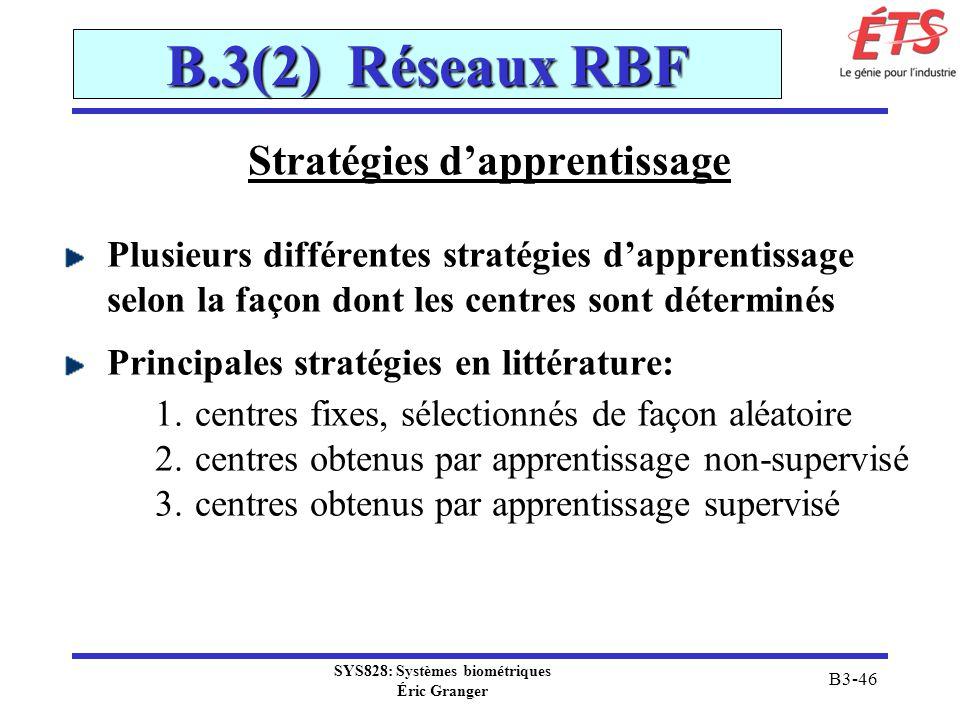 SYS828: Systèmes biométriques Éric Granger B3-46 B.3(2) Réseaux RBF Stratégies dapprentissage Plusieurs différentes stratégies dapprentissage selon la