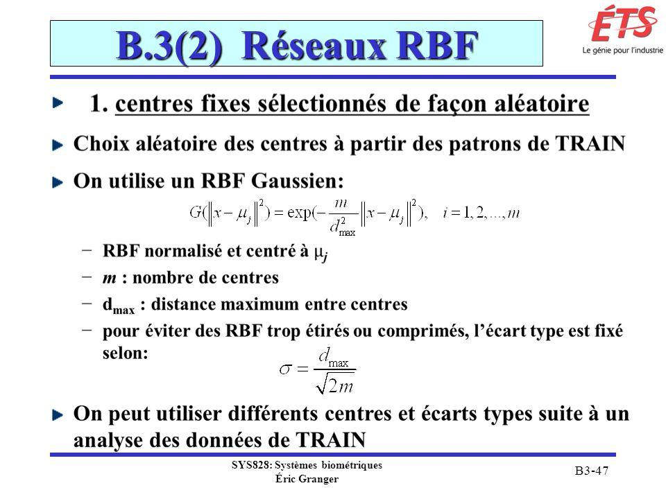 SYS828: Systèmes biométriques Éric Granger B3-47 B.3(2) Réseaux RBF