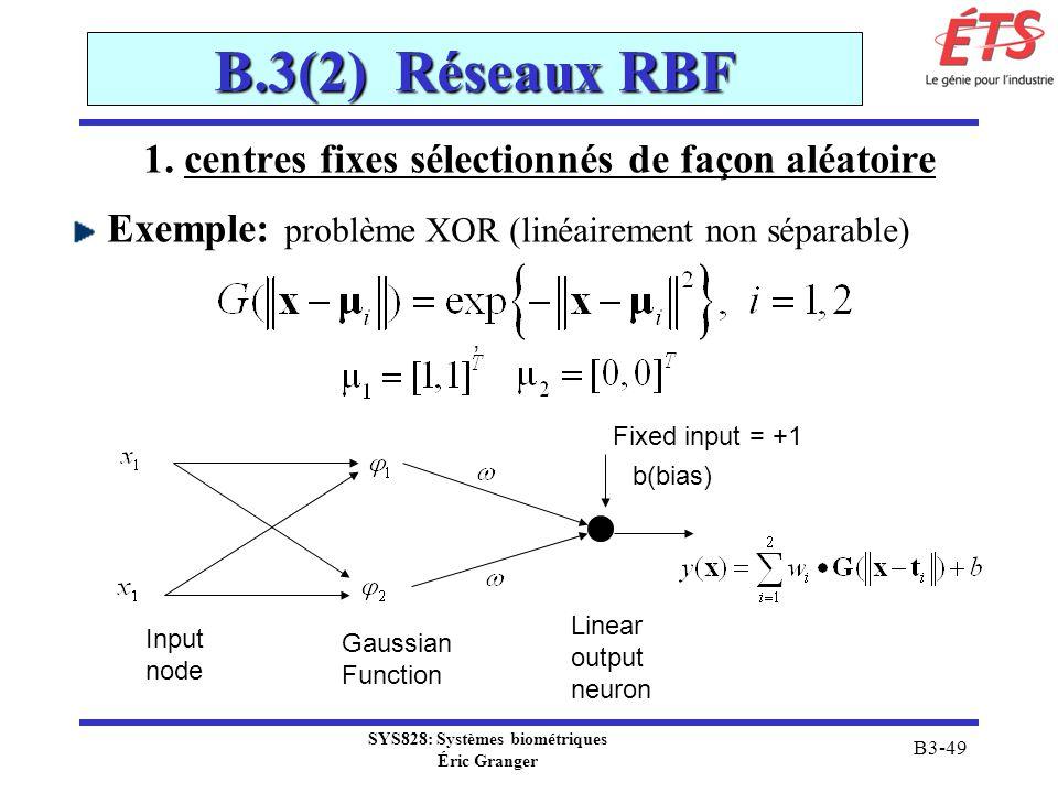 SYS828: Systèmes biométriques Éric Granger B3-49 B.3(2) Réseaux RBF, Fixed input = +1 b(bias) Input node Gaussian Function Linear output neuron 1. cen