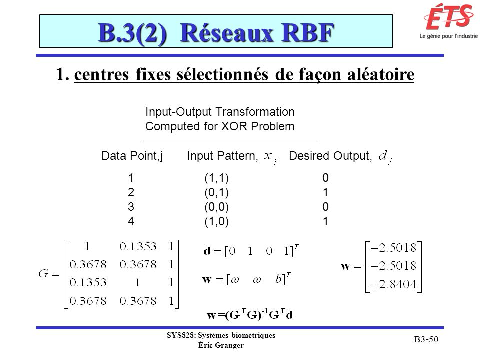 SYS828: Systèmes biométriques Éric Granger B3-50 B.3(2) Réseaux RBF Input-Output Transformation Computed for XOR Problem Data Point,j Input Pattern, Desired Output, 1 (1,1) 0 2 (0,1) 1 3 (0,0) 0 4 (1,0) 1 1.