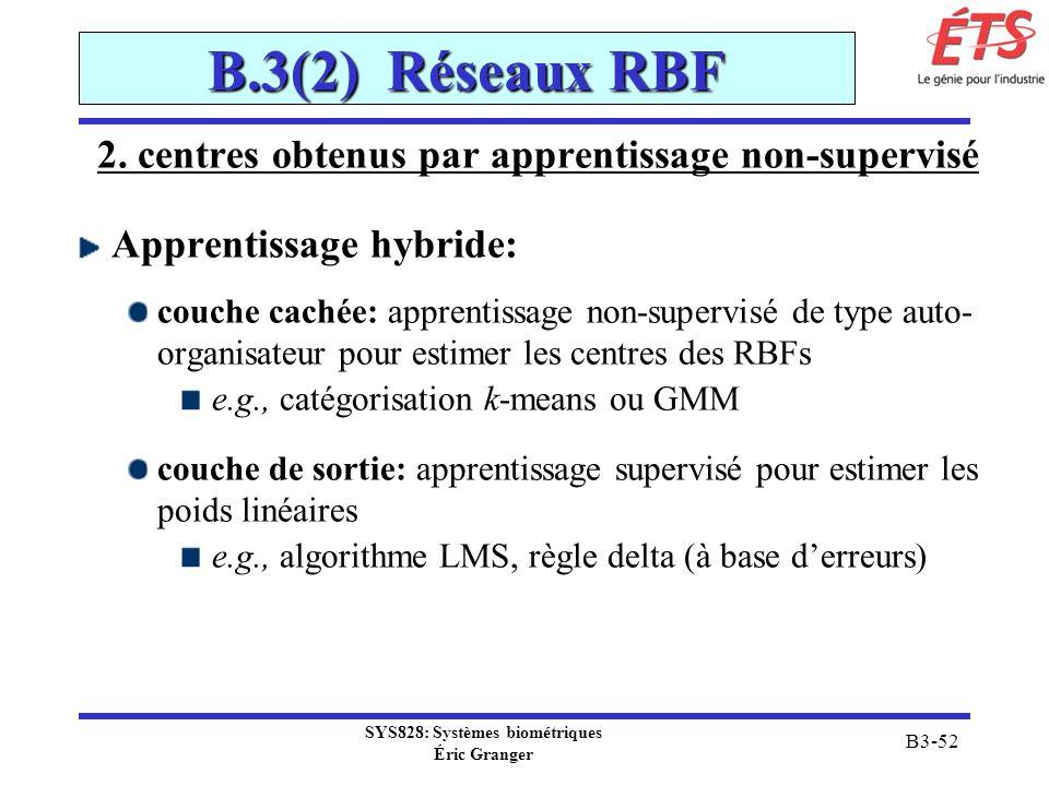 SYS828: Systèmes biométriques Éric Granger B3-52 B.3(2) Réseaux RBF 2. centres obtenus par apprentissage non-supervisé Apprentissage hybride: couche c