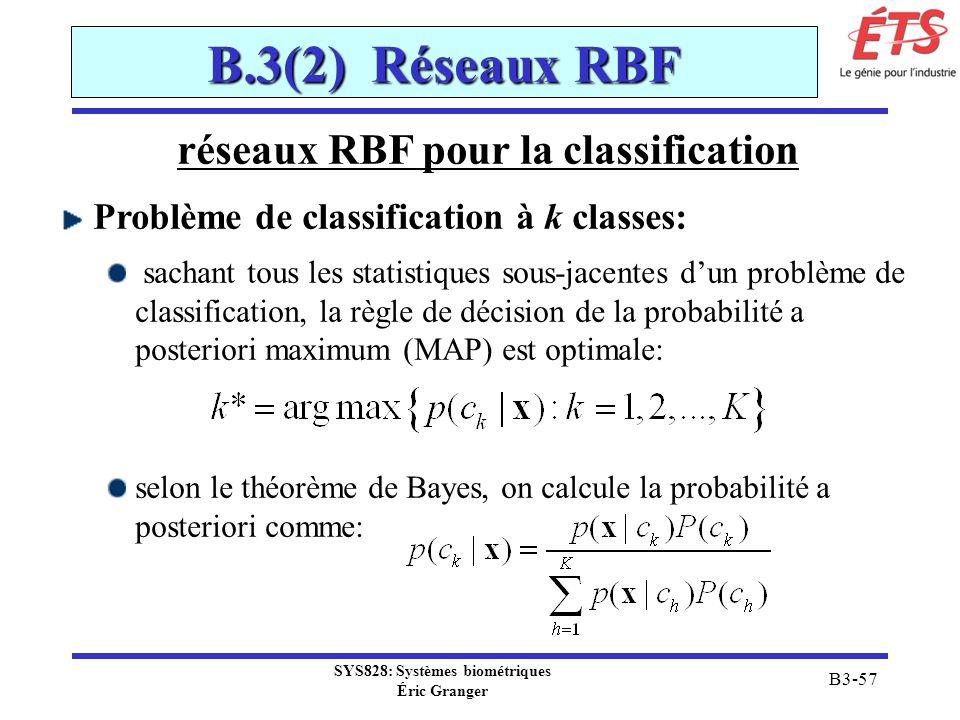SYS828: Systèmes biométriques Éric Granger B3-57 B.3(2) Réseaux RBF réseaux RBF pour la classification Problème de classification à k classes: sachant