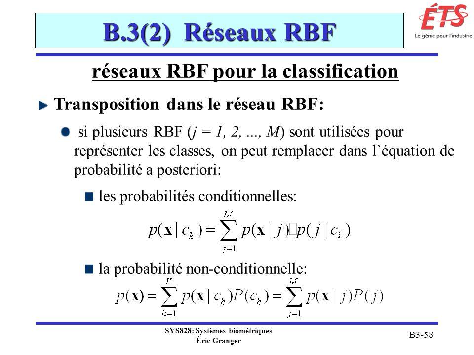 SYS828: Systèmes biométriques Éric Granger B3-58 B.3(2) Réseaux RBF réseaux RBF pour la classification Transposition dans le réseau RBF: si plusieurs