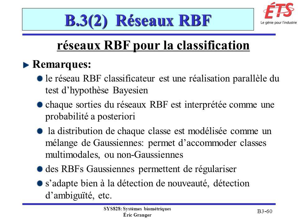 SYS828: Systèmes biométriques Éric Granger B3-60 B.3(2) Réseaux RBF réseaux RBF pour la classification Remarques: le réseau RBF classificateur est une