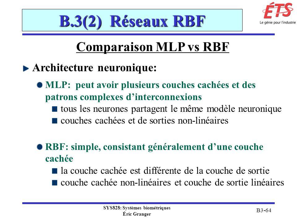 SYS828: Systèmes biométriques Éric Granger B3-64 B.3(2) Réseaux RBF Comparaison MLP vs RBF Architecture neuronique: MLP: peut avoir plusieurs couches