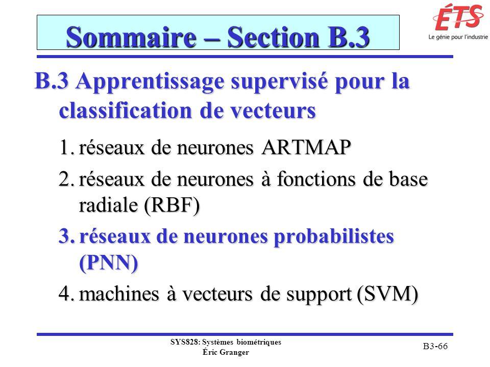 SYS828: Systèmes biométriques Éric Granger B3-66 Sommaire – Section B.3 B.3 Apprentissage supervisé pour la classification de vecteurs 1.réseaux de ne