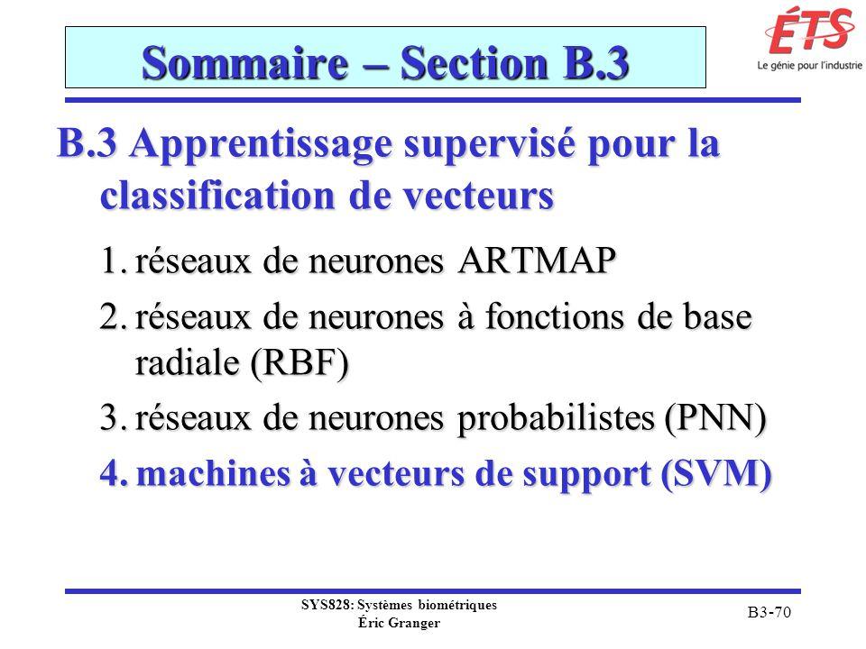 SYS828: Systèmes biométriques Éric Granger B3-70 Sommaire – Section B.3 B.3 Apprentissage supervisé pour la classification de vecteurs 1.réseaux de ne