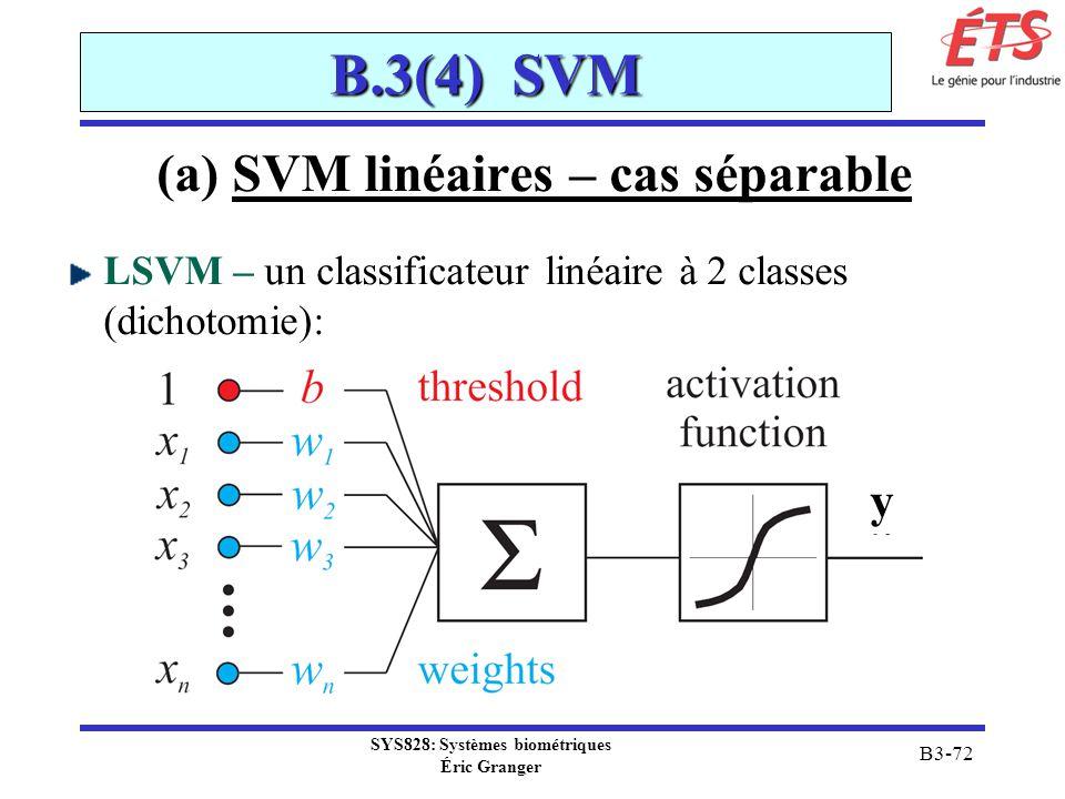 SYS828: Systèmes biométriques Éric Granger B3-72 B.3(4) SVM (a) SVM linéaires – cas séparable LSVM – un classificateur linéaire à 2 classes (dichotomi