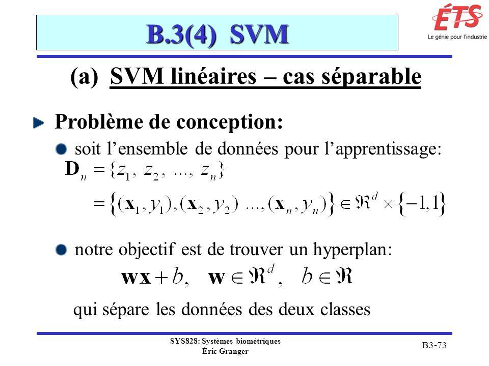 (a)SVM linéaires – cas séparable Problème de conception: soit lensemble de données pour lapprentissage: notre objectif est de trouver un hyperplan: qu