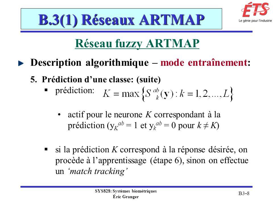 SYS828: Systèmes biométriques Éric Granger B3-9 B.3(1) Réseaux ARTMAP Réseau fuzzy ARTMAP Description algorithmique – mode entraînement: match tracking: augmente ρ du fuzzy ART juste assez pour induire une recherche pour soit: trouver un autre neurone commis de F2 qui prédit la classe désirée (étape 3) créer un neurone non-commis de F2 pour apprendre la classe désirée (étape 6)