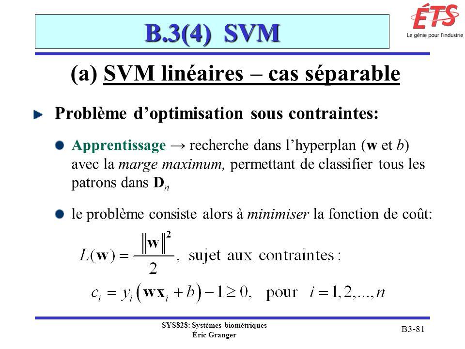 SYS828: Systèmes biométriques Éric Granger B3-81 B.3(4) SVM (a) SVM linéaires – cas séparable Problème doptimisation sous contraintes: Apprentissage r