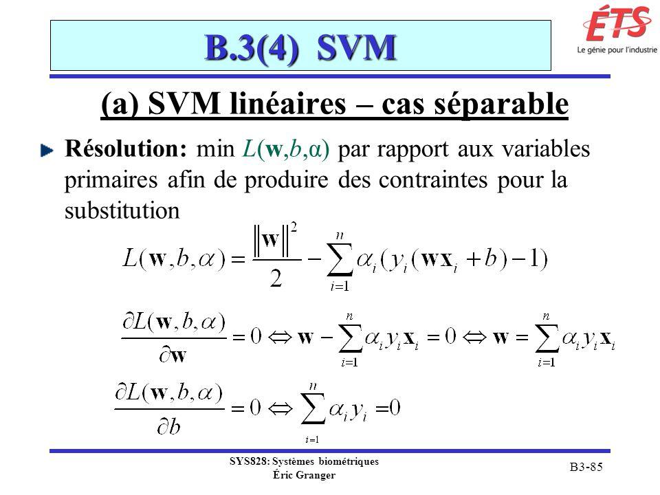 SYS828: Systèmes biométriques Éric Granger B3-85 B.3(4) SVM (a) SVM linéaires – cas séparable Résolution: min L(w,b,α) par rapport aux variables prima