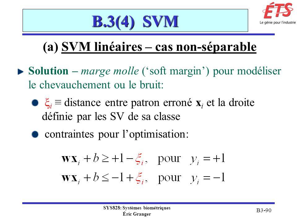 SYS828: Systèmes biométriques Éric Granger B3-90 B.3(4) SVM (a) SVM linéaires – cas non-séparable Solution – marge molle (soft margin) pour modéliser