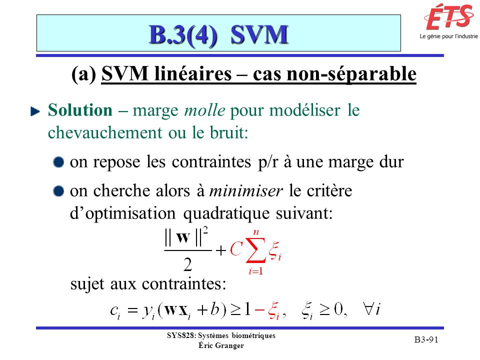 SYS828: Systèmes biométriques Éric Granger B3-91 B.3(4) SVM (a) SVM linéaires – cas non-séparable Solution – marge molle pour modéliser le chevaucheme