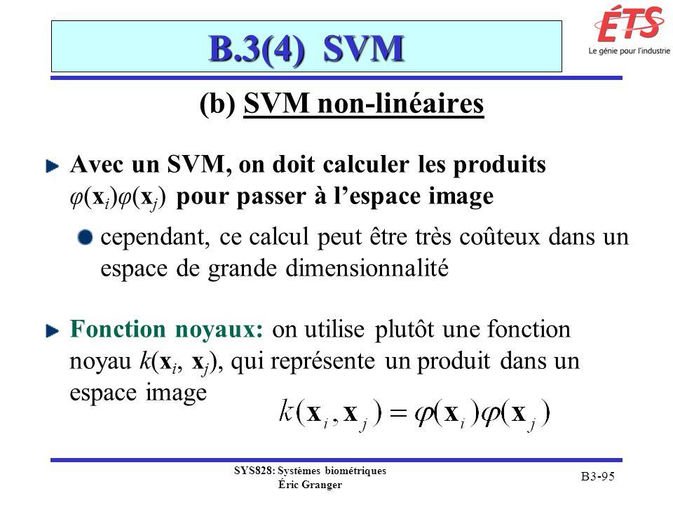 SYS828: Systèmes biométriques Éric Granger B3-95 B.3(4) SVM (b) SVM non-linéaires Avec un SVM, on doit calculer les produits φ(x i )φ(x j ) pour passe