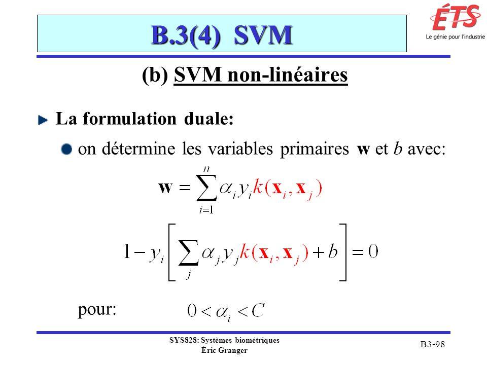 SYS828: Systèmes biométriques Éric Granger B3-98 B.3(4) SVM (b) SVM non-linéaires La formulation duale: on détermine les variables primaires w et b av