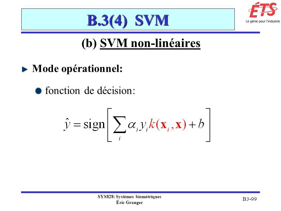 SYS828: Systèmes biométriques Éric Granger B3-99 B.3(4) SVM (b) SVM non-linéaires Mode opérationnel: fonction de décision: