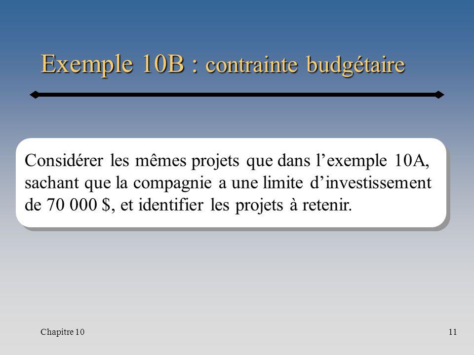 Chapitre 1011 Exemple 10B : contrainte budgétaire Considérer les mêmes projets que dans lexemple 10A, sachant que la compagnie a une limite dinvestissement de 70 000 $, et identifier les projets à retenir.
