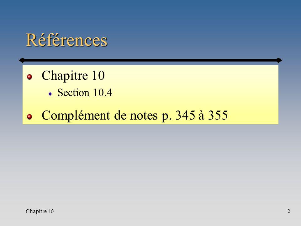 Chapitre 102 Références Section 10.4 Complément de notes p. 345 à 355