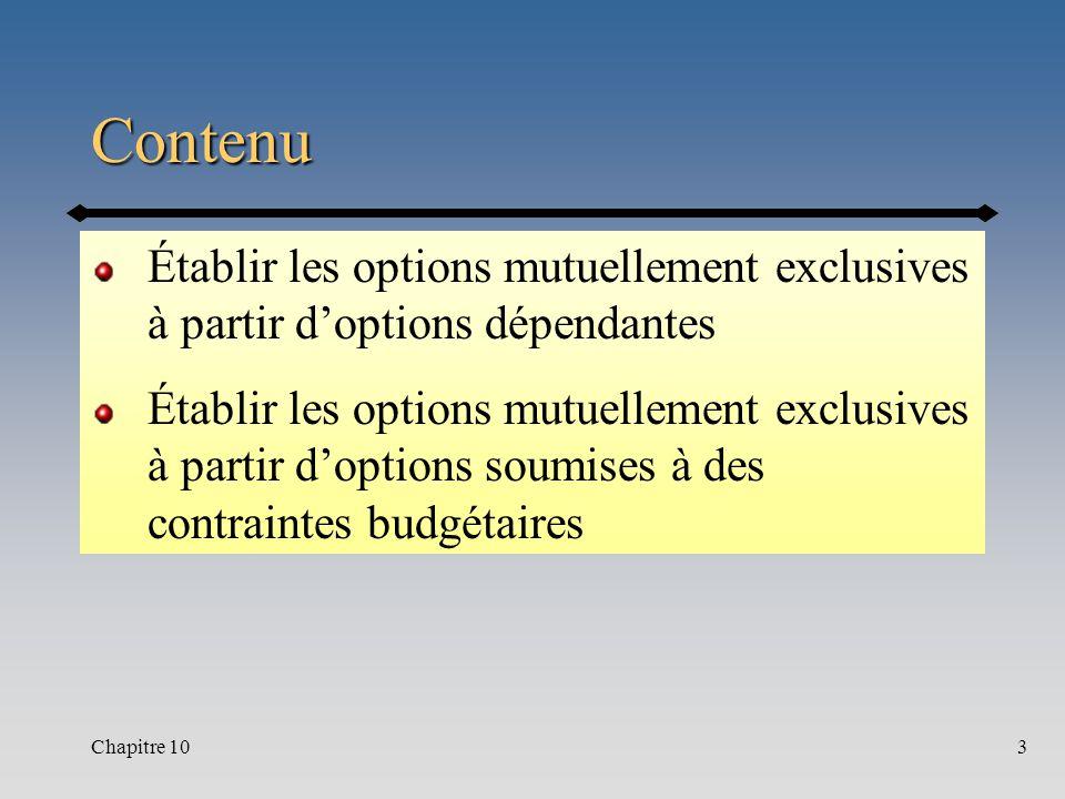 Chapitre 103 Contenu Établir les options mutuellement exclusives à partir doptions dépendantes Établir les options mutuellement exclusives à partir doptions soumises à des contraintes budgétaires