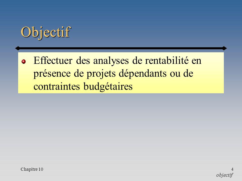 Chapitre 104 Objectif Effectuer des analyses de rentabilité en présence de projets dépendants ou de contraintes budgétaires objectif