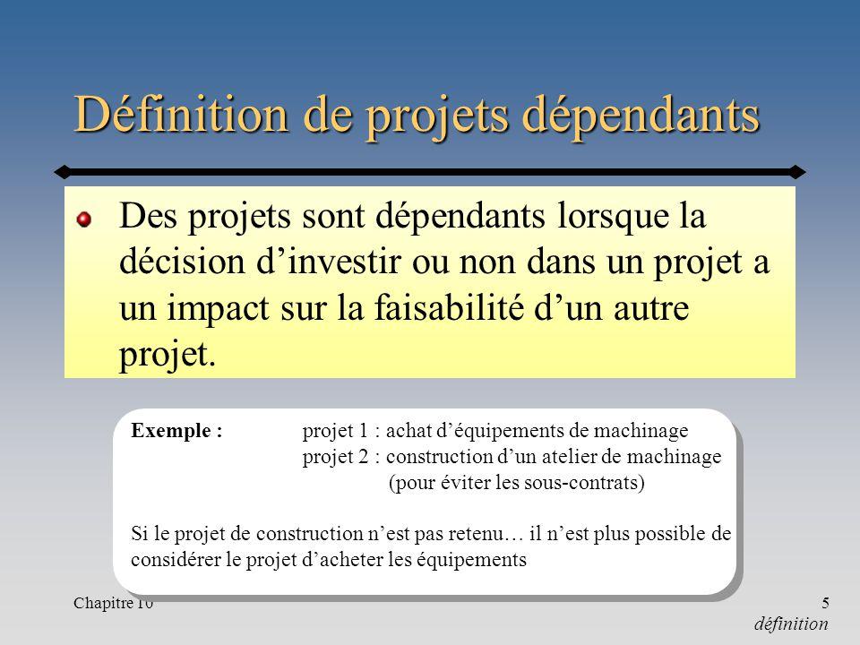 Chapitre 105 Définition de projets dépendants Des projets sont dépendants lorsque la décision dinvestir ou non dans un projet a un impact sur la faisabilité dun autre projet.