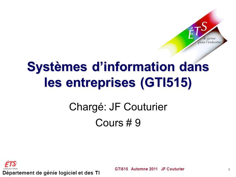 Département de génie logiciel et des TI Systèmes dinformation dans les entreprises (GTI515) Chargé: JF Couturier Cours # 9 GTI515 Automne 2011 JF Couturier 1
