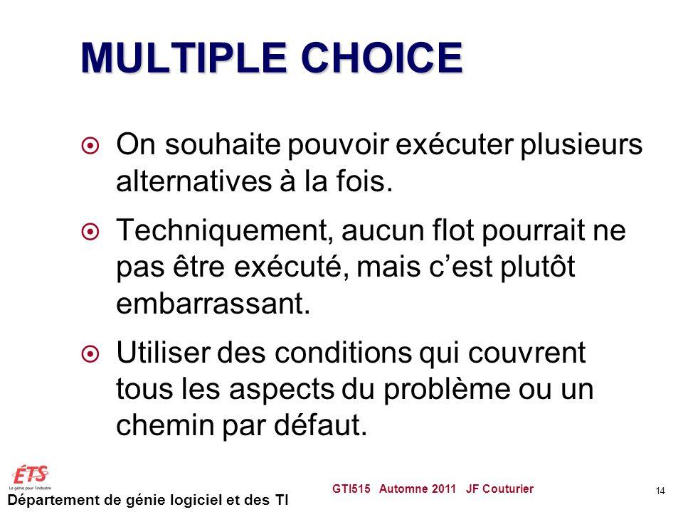 Département de génie logiciel et des TI MULTIPLE CHOICE On souhaite pouvoir exécuter plusieurs alternatives à la fois.