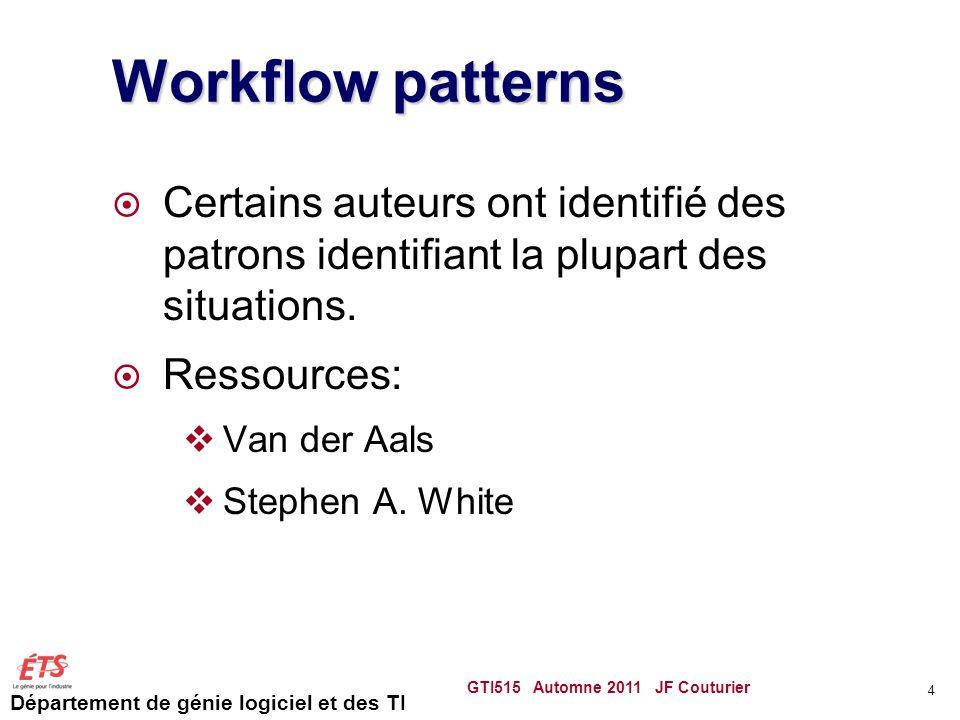 Département de génie logiciel et des TI Workflow patterns Certains auteurs ont identifié des patrons identifiant la plupart des situations.